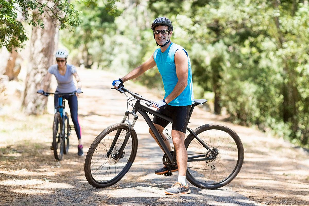 A Couple riding bike